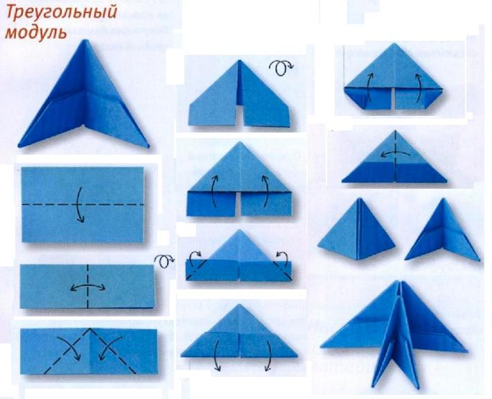 Оригами треугольные модули схема