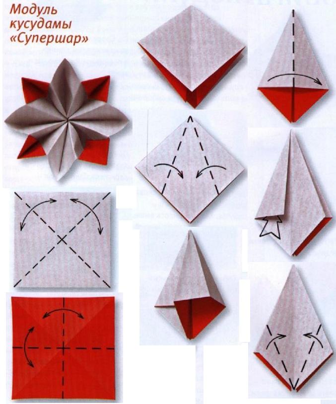 Модульное оригами схема кусудамы из цветов
