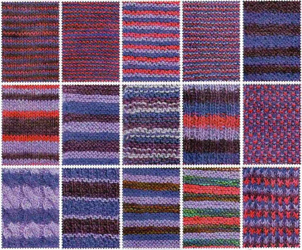 Вязание спицами из нитей разных цветов 295