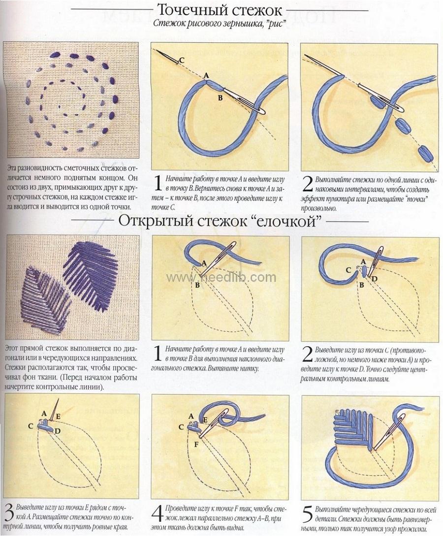 Выполнение швов в вышивке