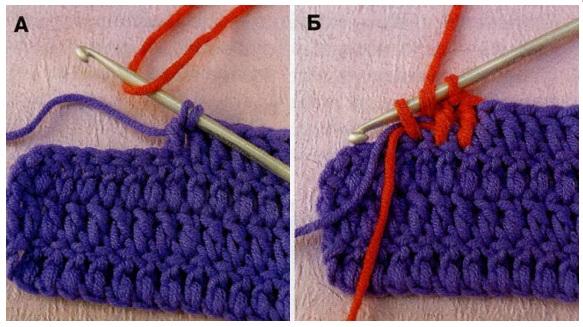 соединение швовпереход к новому цвету обработка краев вязание