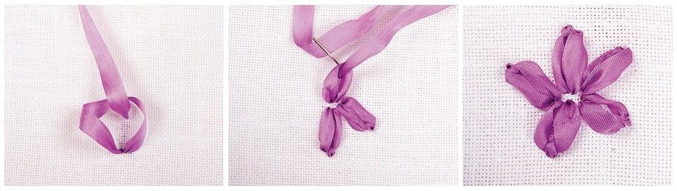 Цветы вышивка из атласных лент