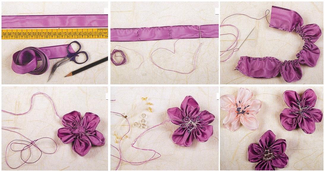 Цветы для волос цвета схема