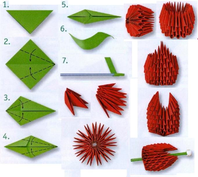Оригами из бумаги цветок тюльпан