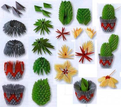 Кактус модульного оригами
