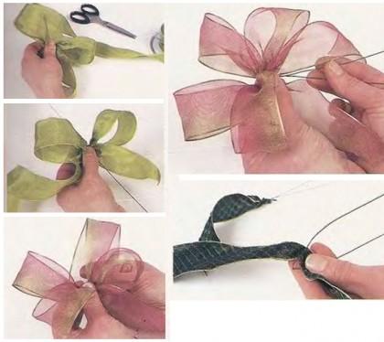 украшаем цветы бантами