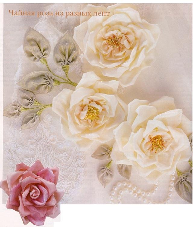 Розы с листьями из канзаши