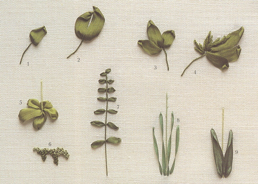 Вышивка лентами листьев и стебля