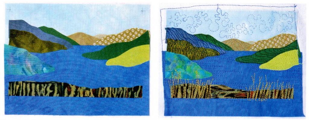 Пейзаж на ткани своими руками 395