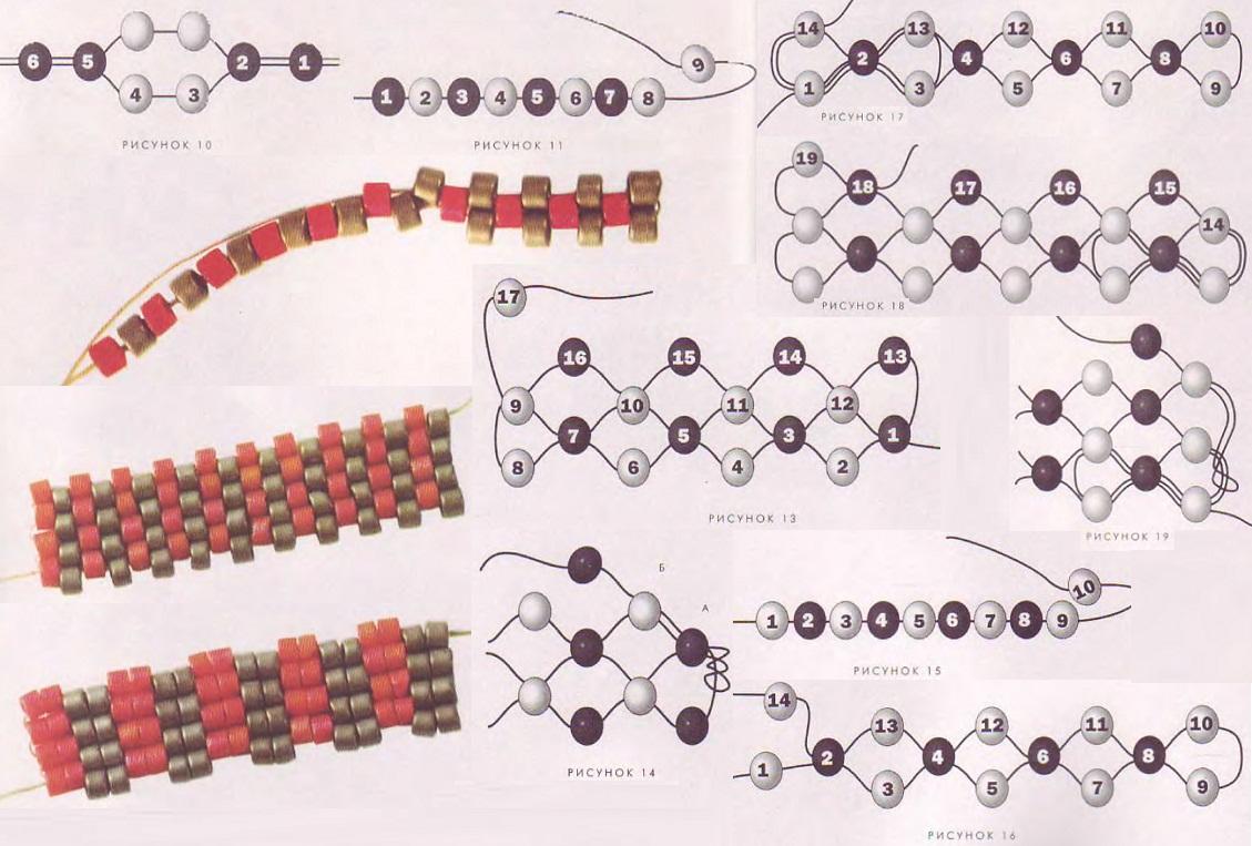 схема плетения бисера для начинающих