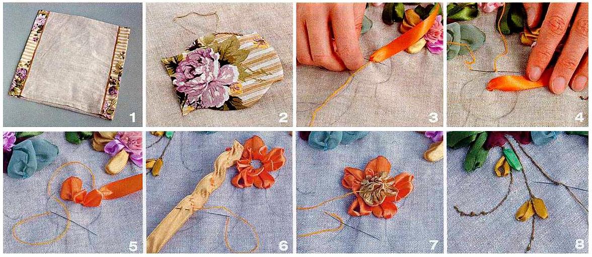 Вышивка цветов на ткани 88