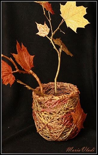 Как сделать вазу из листьев фото
