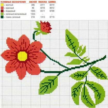 Цветы схема вышивки крестом простая схема 47