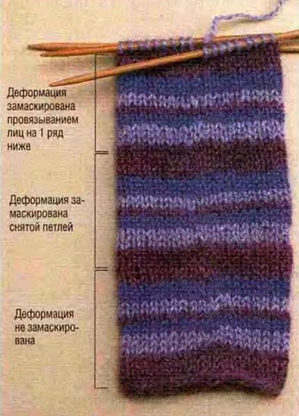 Вязание переход полос