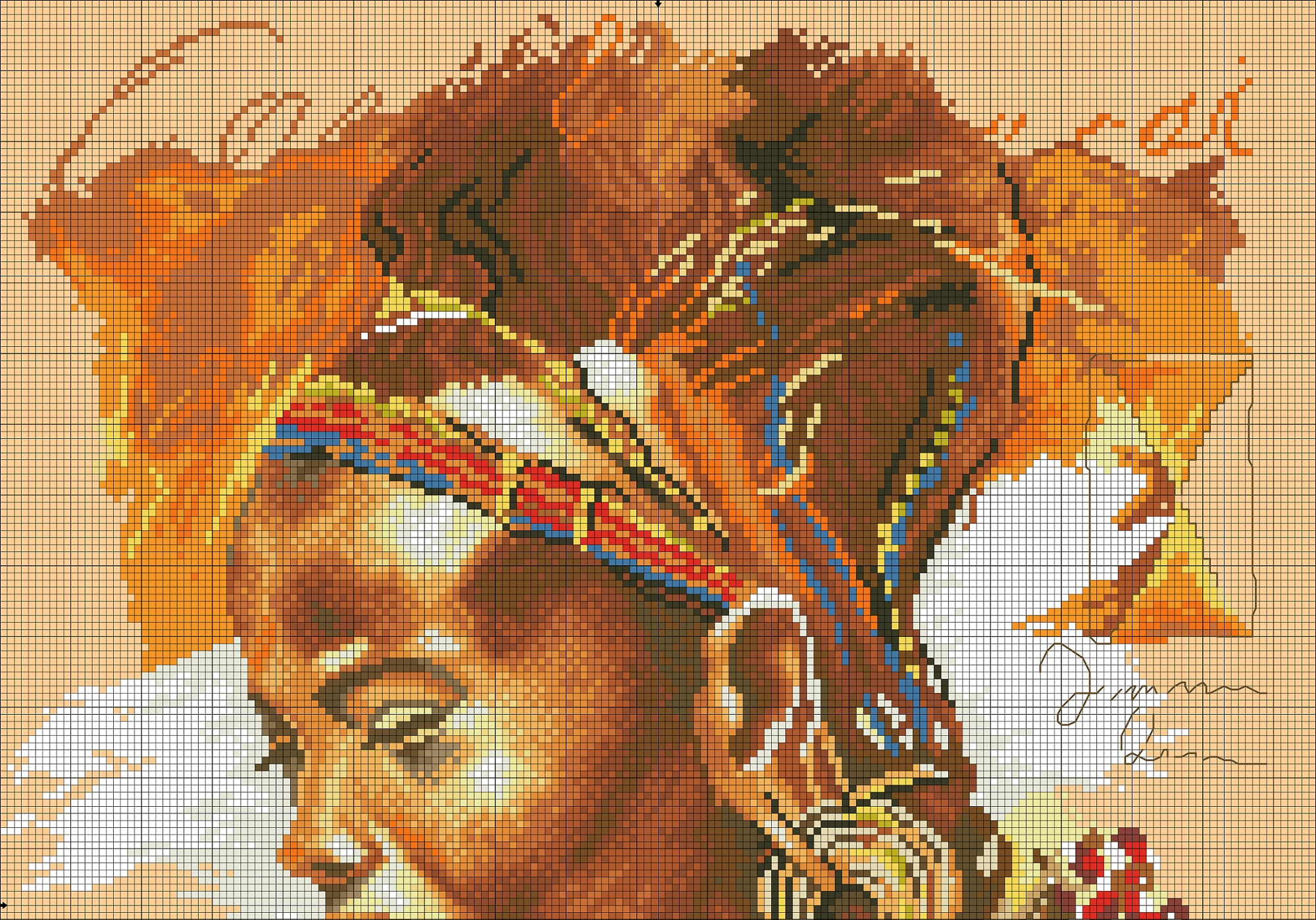 Африканка схема вышивки крестом