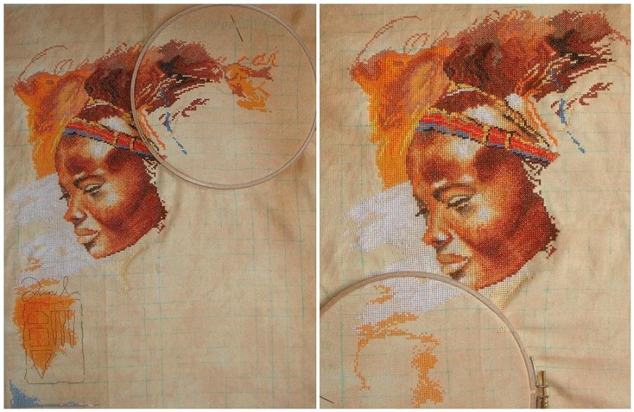 Вышивка крестиком африканки