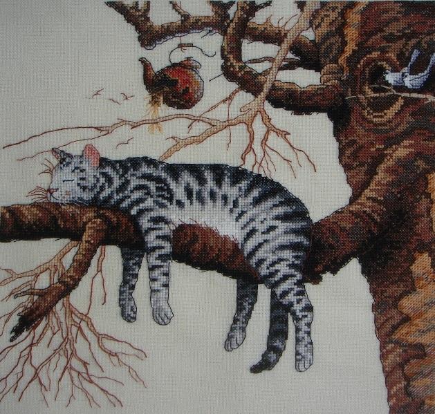 Схема вышивки кот устал