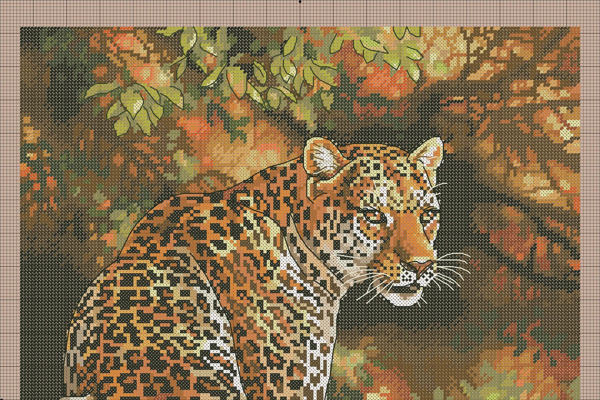 Вышивка крестом леопарды схема 73