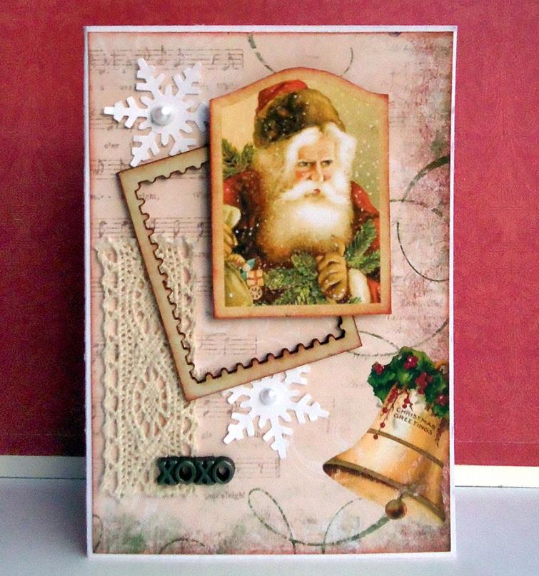 Скрапбукинг открытки новый год ретро, мальчик