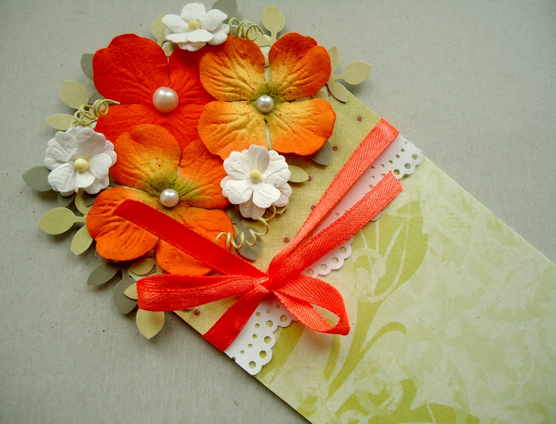 Цветы гофрированная бумага открытка, гариками