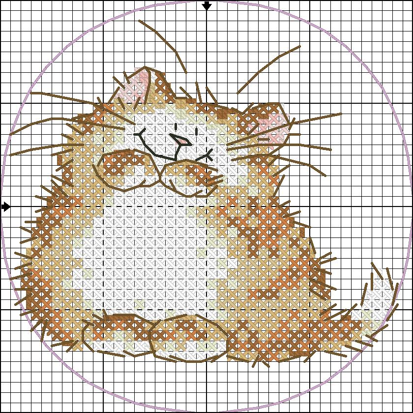 Котенок маленькая схема вышивки