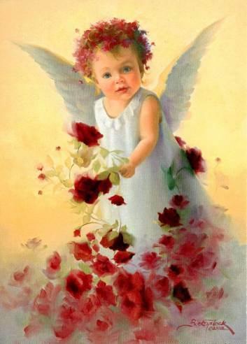 красивый ангел с цветами