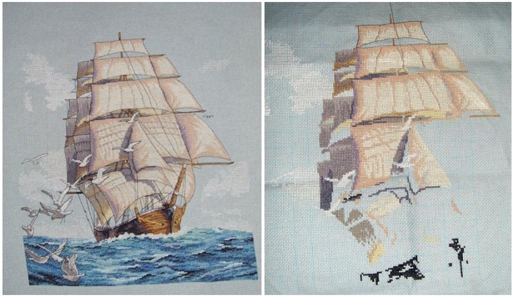 Вышивка крестом корабли 1 - Dimensions, Anchor, Риолис 19