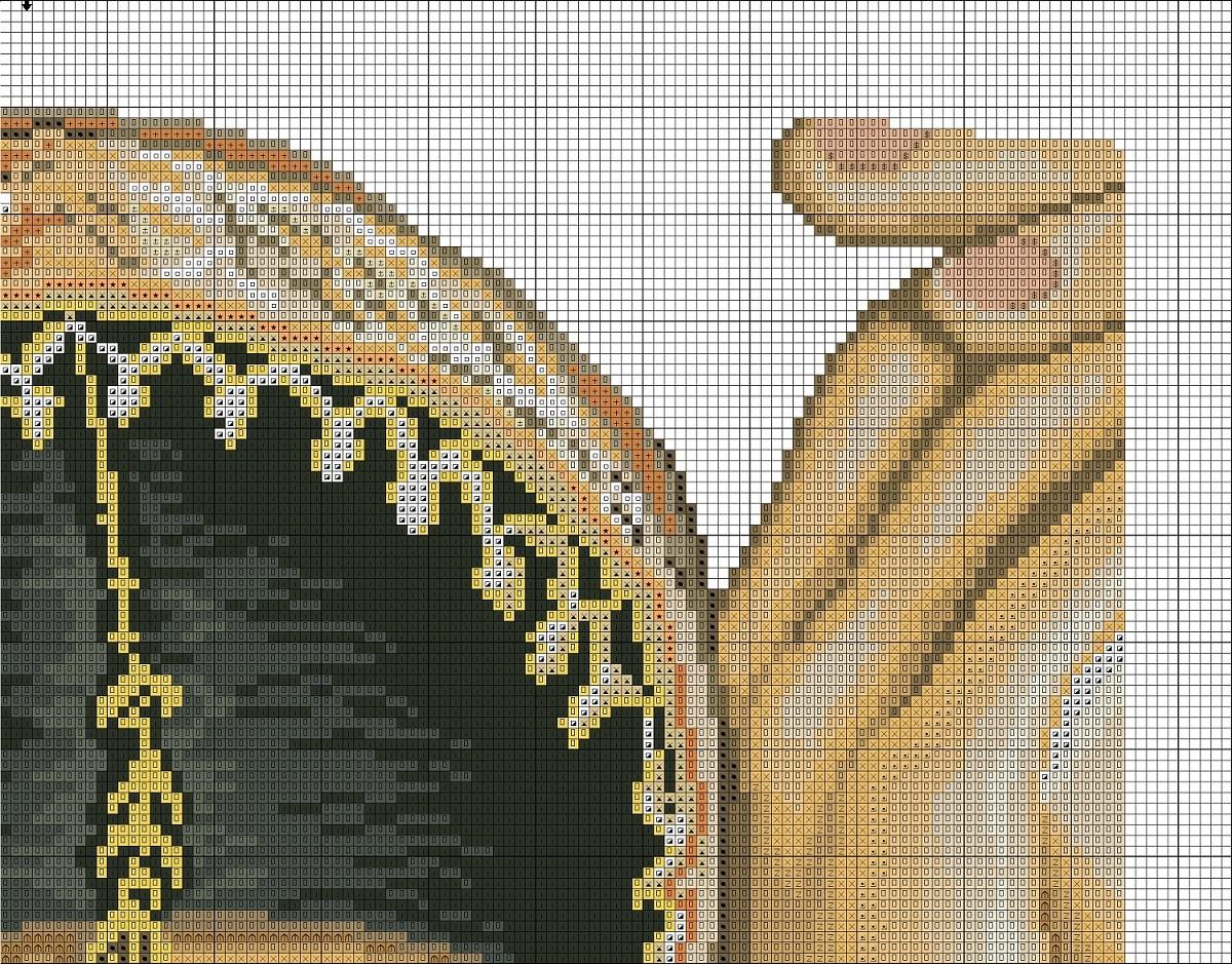 Схема вышивки крестиком индианка 100