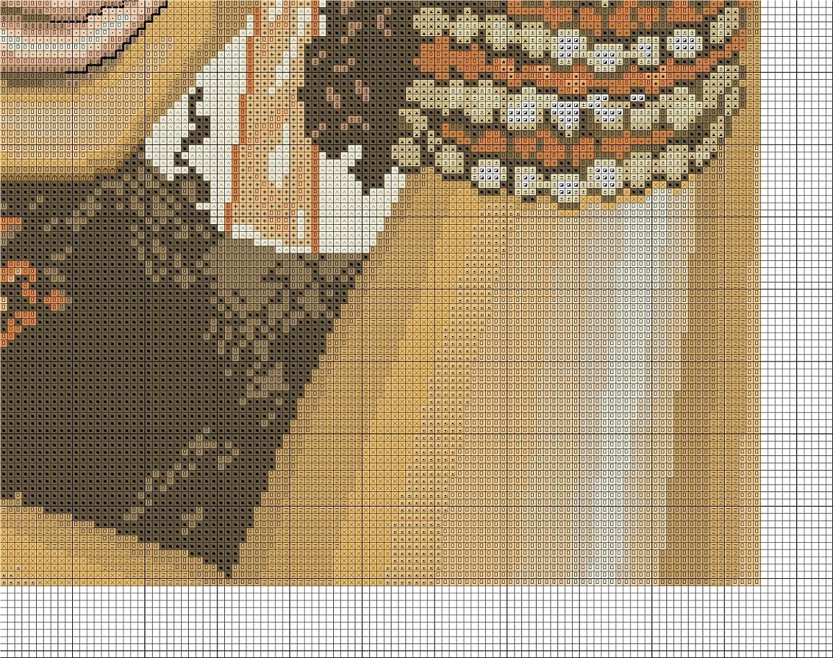 Схема вышивки крестиком индианка 24