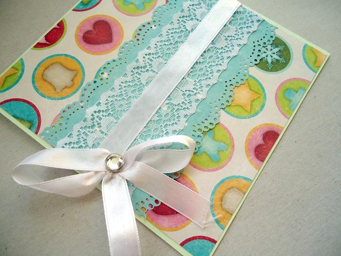 Как украсить открытку лентой, машкой днем рождения