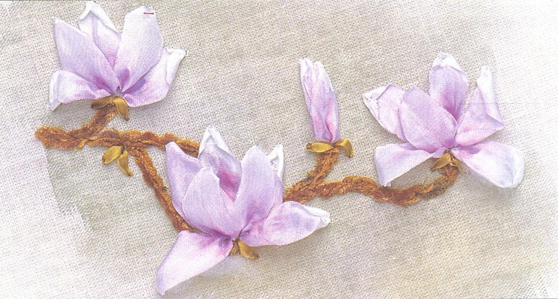 Цветы магнолии вышивка
