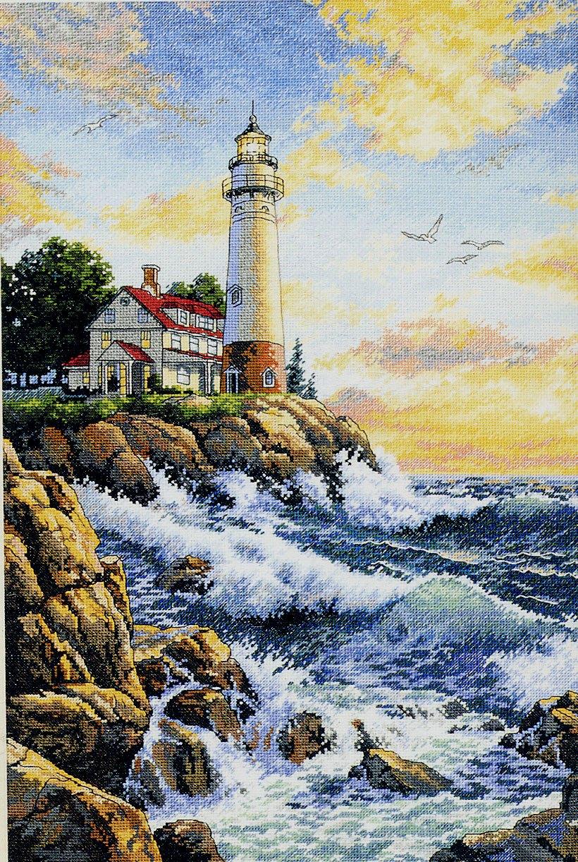 Вышивка крестом маяк на море