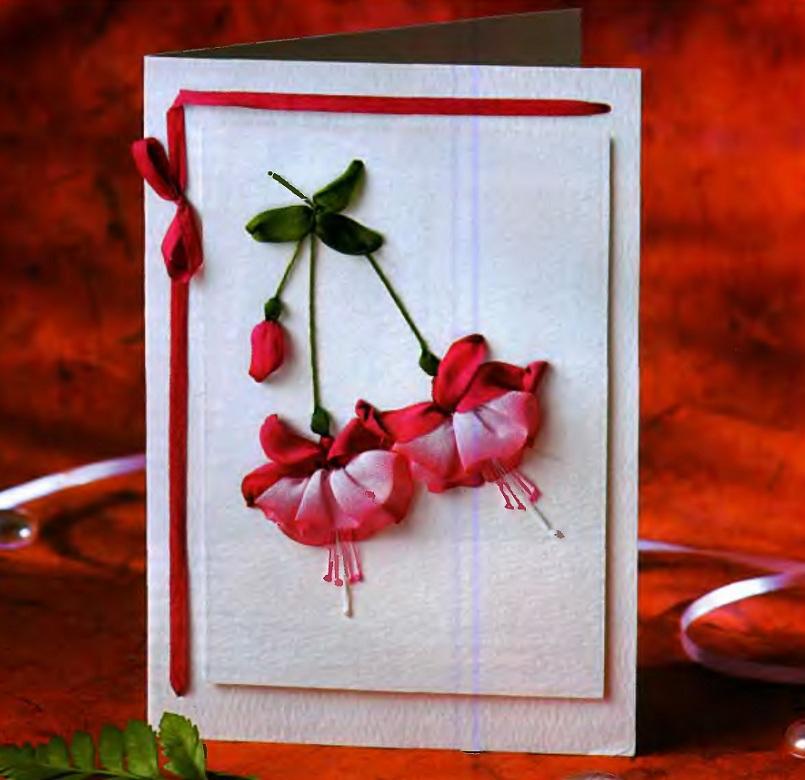 Открытку, открытки с цветами из лент своими руками