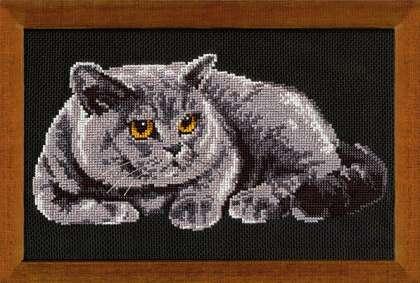 Вышивка котов на черной канве 727