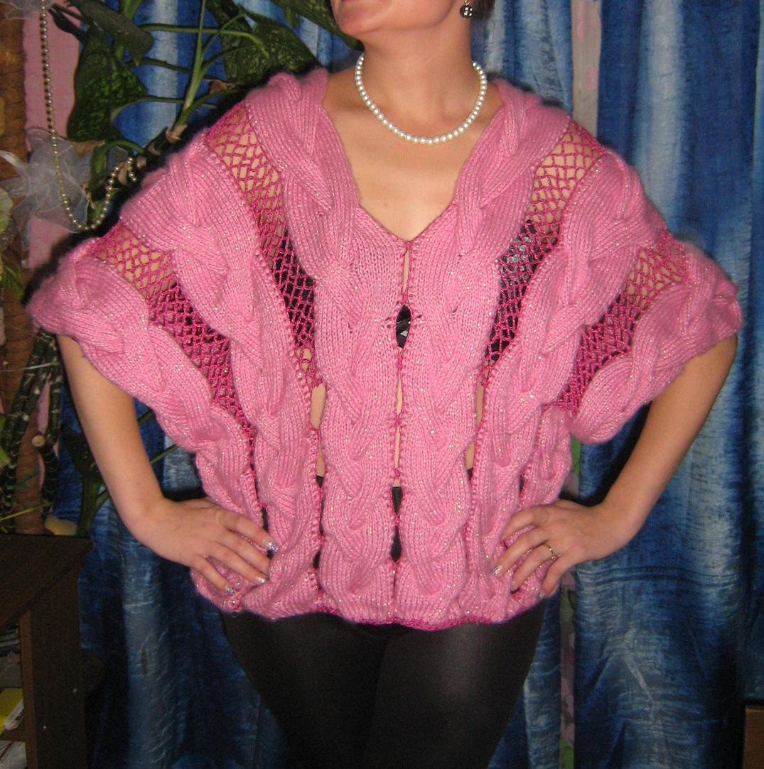 жилет пончо из объёмных кос вязание для женщин в рукоделии