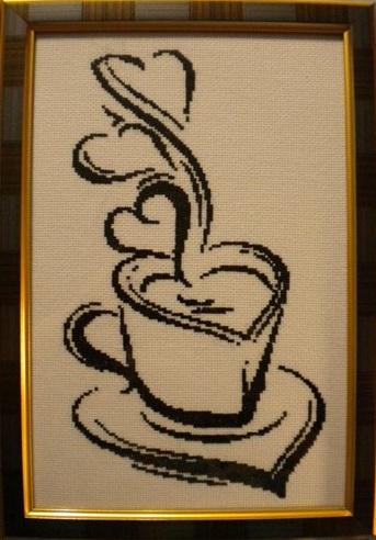 Черно белая вышивка кофе