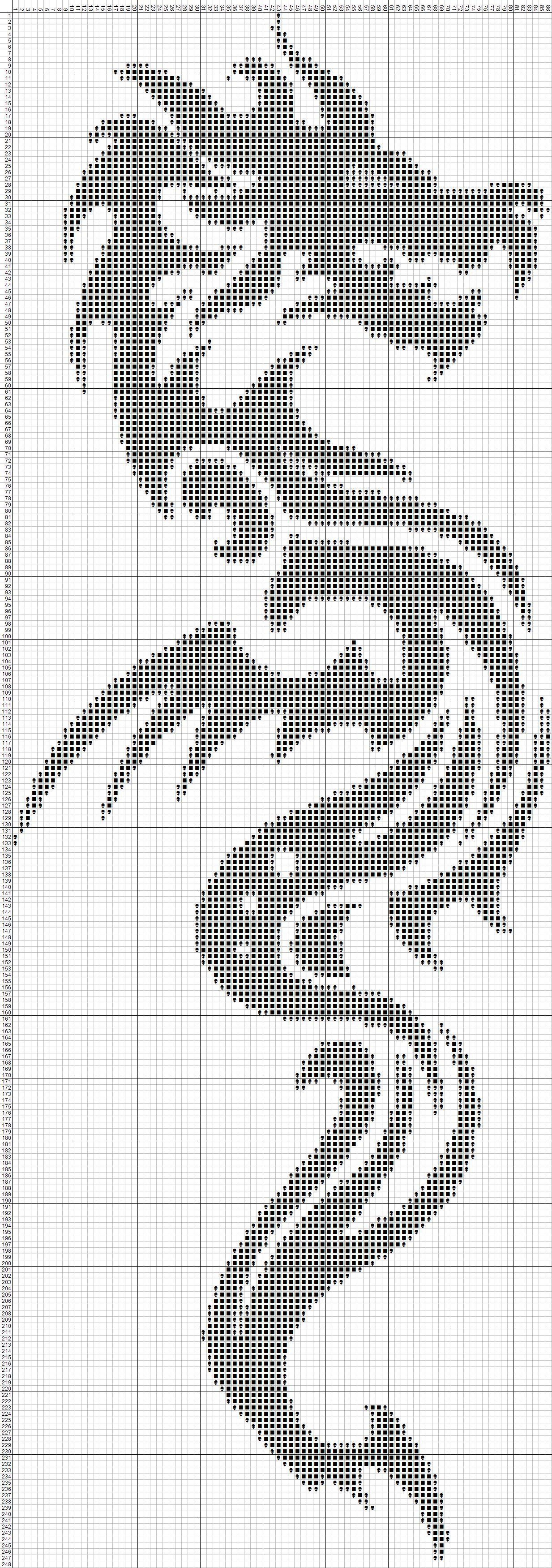 Вышивка черного дракона