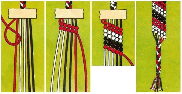 Как плести браслет из ниток для вязания