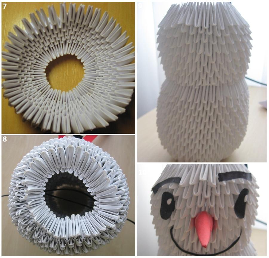 Оригами как собрать снеговика видео