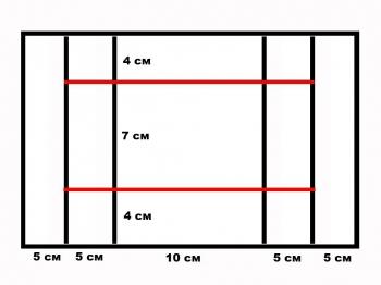 Схема мест разрезов и сгибов большой открытки техникой скрапбукинг