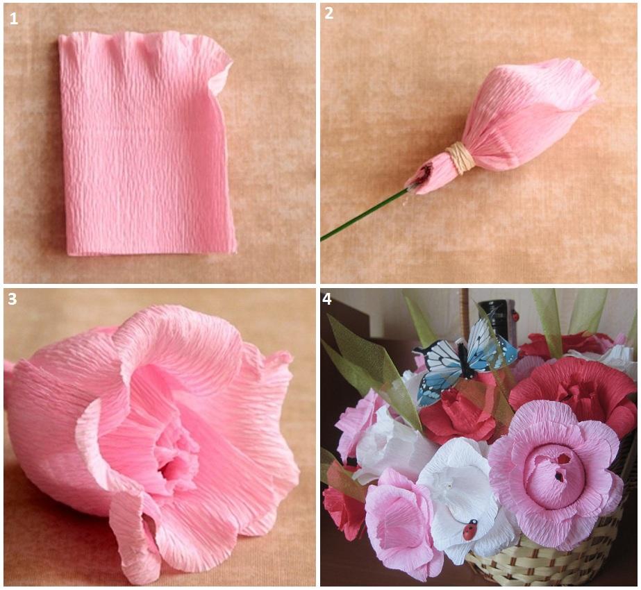 Простые цветы из гофрированной бумаги с конфетами своими руками 283