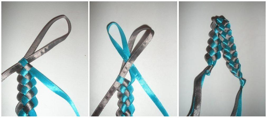 Плетение браслета и ленты атласной