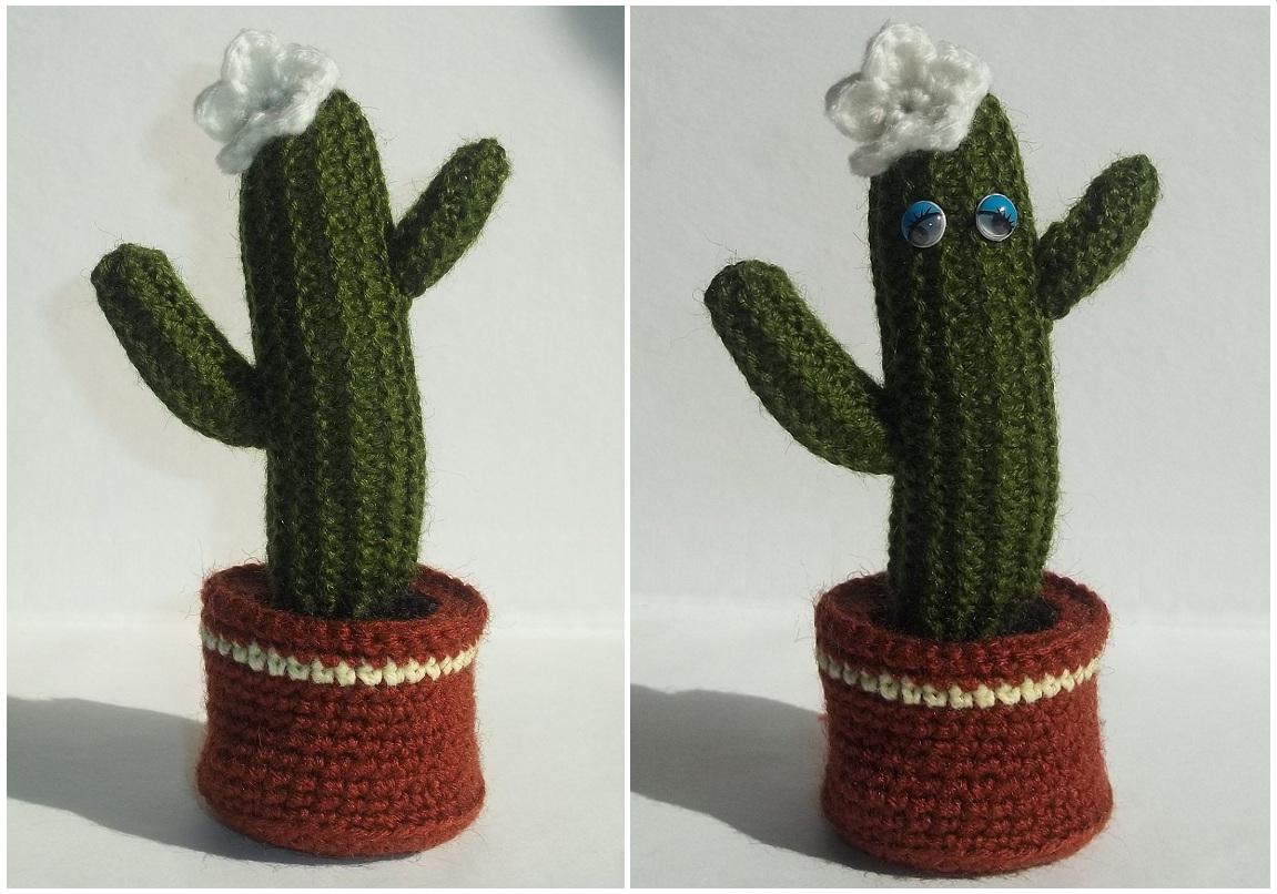 Связать крючком кактус с горшком