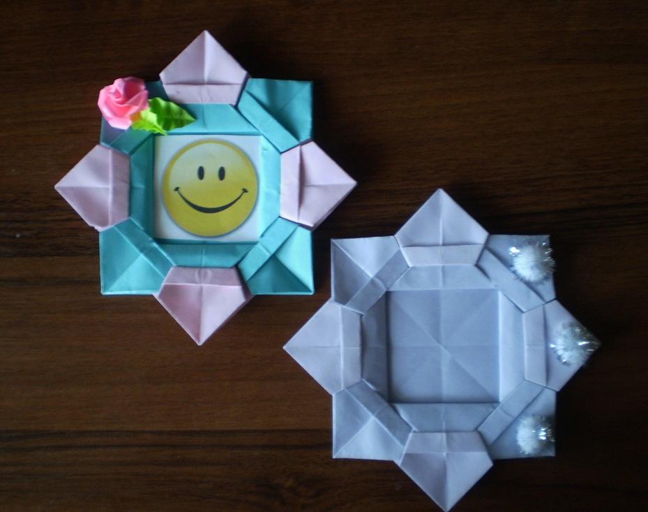 Фоторамка своими руками из бумаги оригами