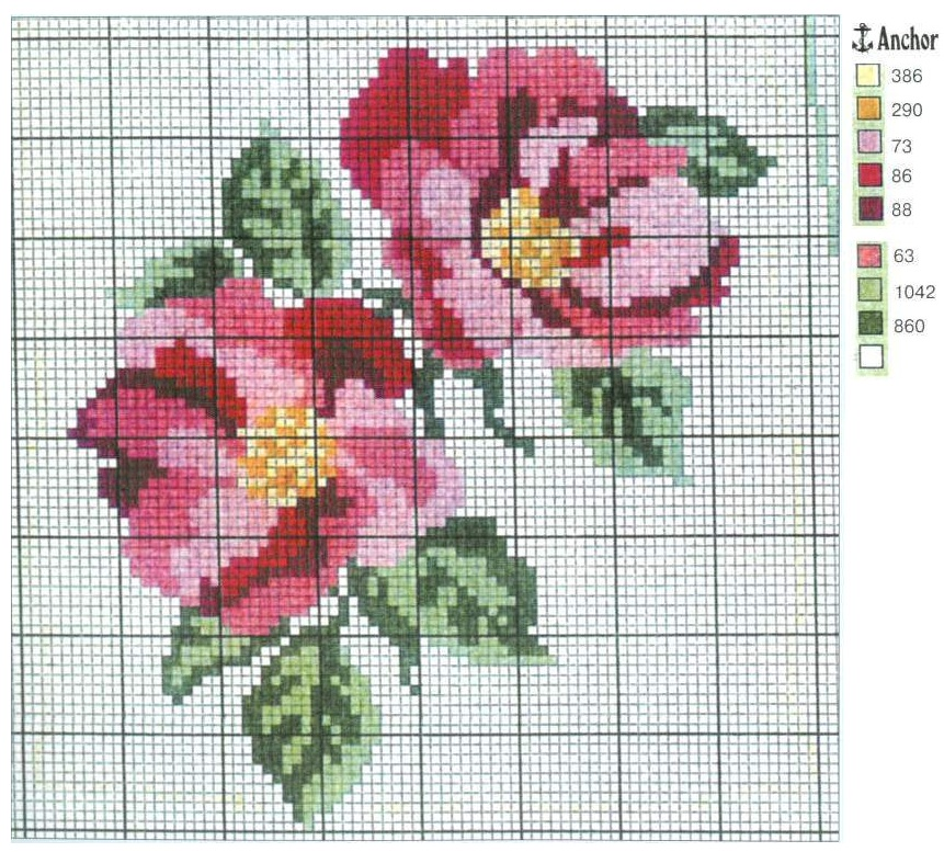 Схема вышивка цветочки