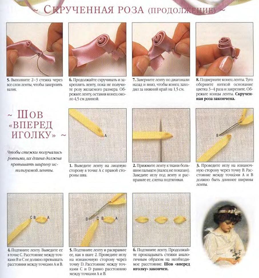 Вышивка лентами для начинающих розы схемы 35