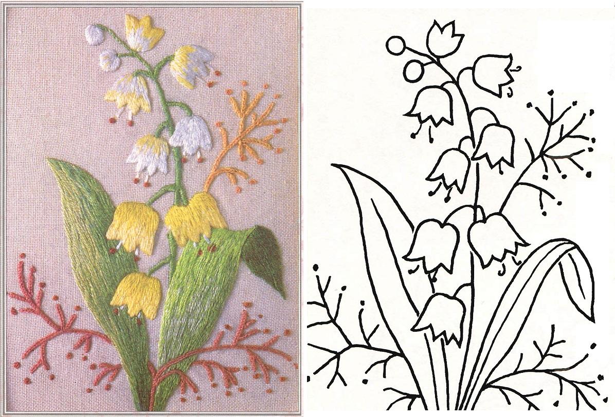 Схемы цветов для вышивки гладью