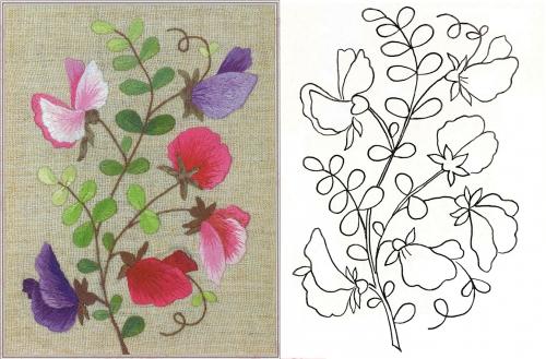Вышивка горошка в цвету