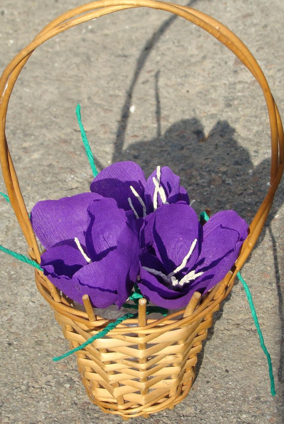 Крокусы из конфет и гофрированной бумаги своими руками