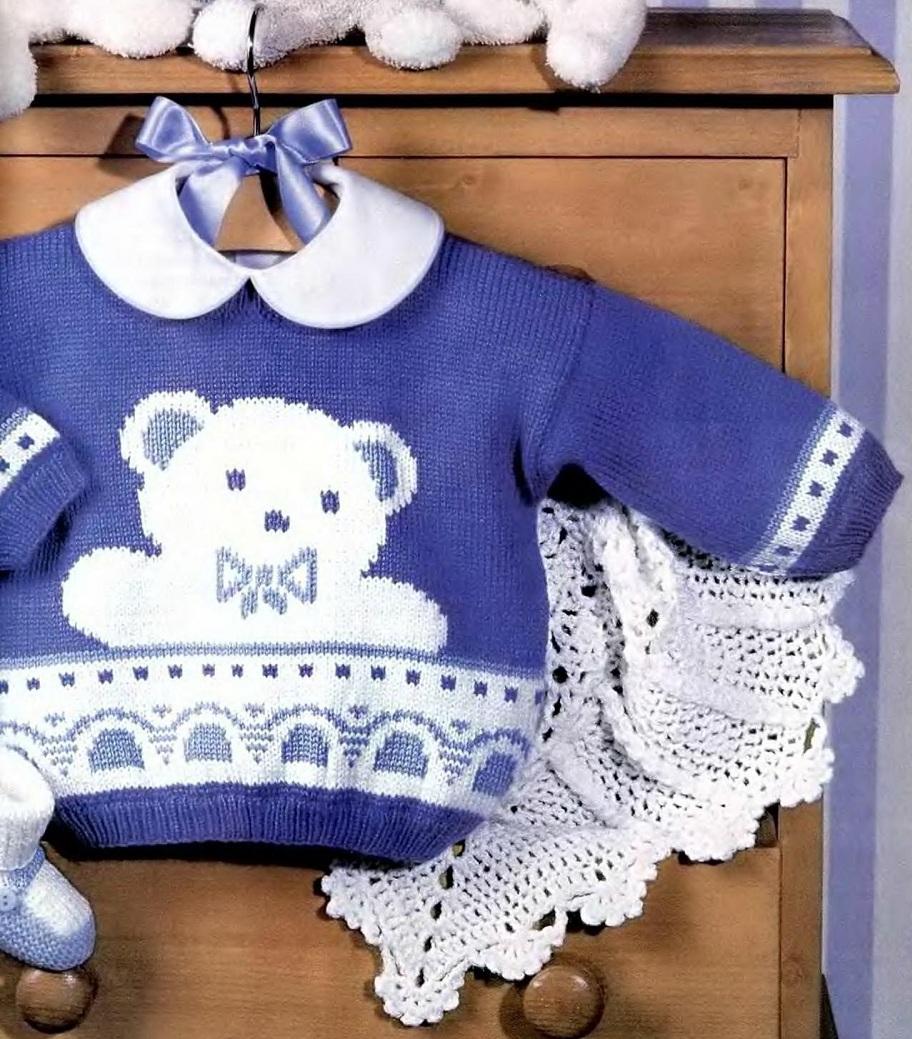 Связать спицами мишку на свитере 55
